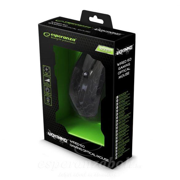 Esperanza Gamer Egér 6D Optikai USB Világít EGM211R
