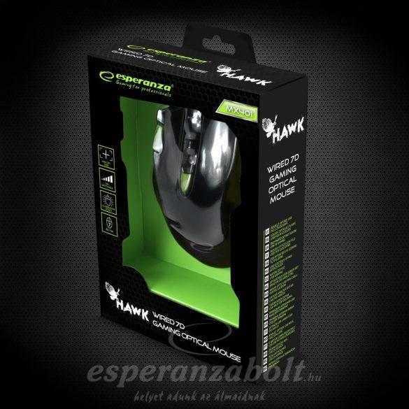 Esperanza MX401 HAWK Fekete-zöld Gamer Egér 7D optikai
