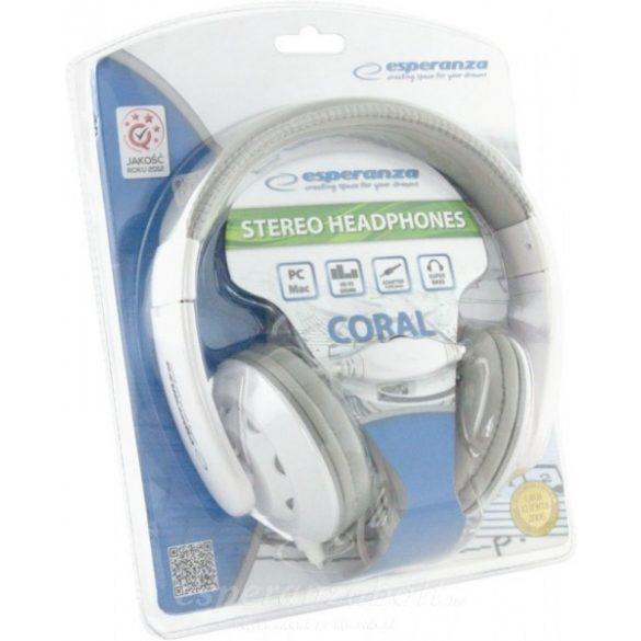 Esperanza Coral Fejhallgató fehér EH144W