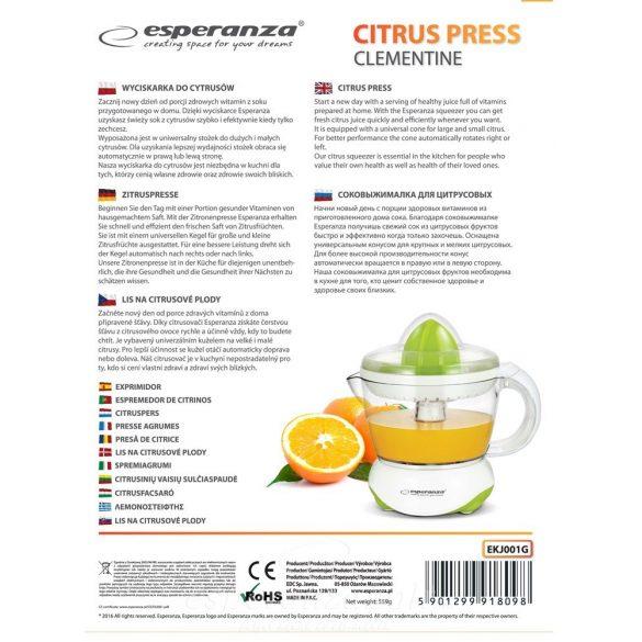 Esperanza Clementine Citrus facsaró gyümölcs facsaró fehér-zöld EKJ001G