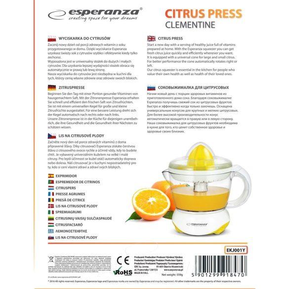 Esperanza Clementine Citrus facsaró gyümölcs facsaró fehér-sárga EKJ001Y