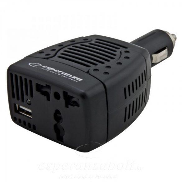 Esperanza Feszültségátalakító, Inverter 12V 75W, +USB aljzat EZ104K