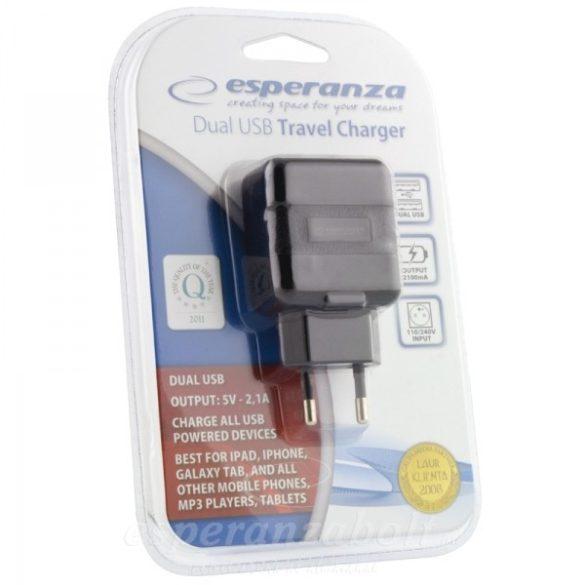 Esperanza Univerzális USB Töltő  X2USB, 2.1A