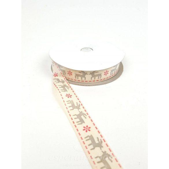 KARI MINTÁS TEXTIL SZALAG - SZARVAS, 1,5 cm széles*10yrd hosszú