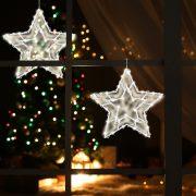 HOME Világító LED ablakdísz, csillag, 33cm,  KID 503 B/WW