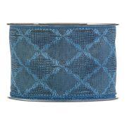 Karácsonyi mintás Szalag kék mintás textil 65mmx10m