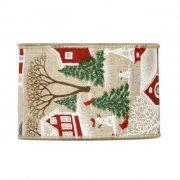 Karácsonyi mintás Szalag natúr,piros,zöld,fehér házikóval szarvassal 63mmx10m