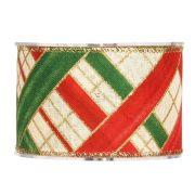 Karácsonyi mintás Szalag zöld,piros,fehér,arany kockás 63mmx10m
