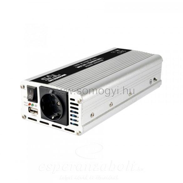 HOME Feszültségátalakító, Inverter 12V 500/1000W, +USB aljzat SAI 1000USB