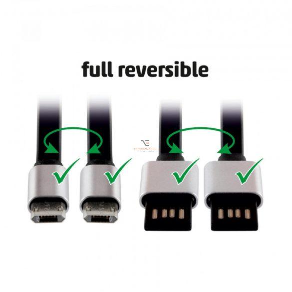 Home microUSB töltőkábel, lapos, 2m USBF 2