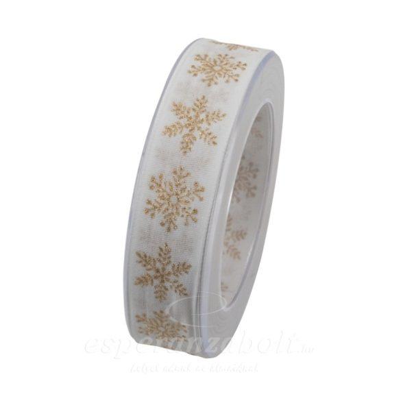 Karácsonyi Szalag arany hópihével 25mmx10m fehér