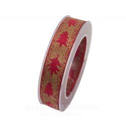 Karácsonyi Szalag fenyővel Glitteres 25mmx10m piros