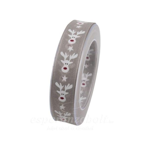 Karácsonyi Szalag szarvas mintával 25mmx10m ezüst