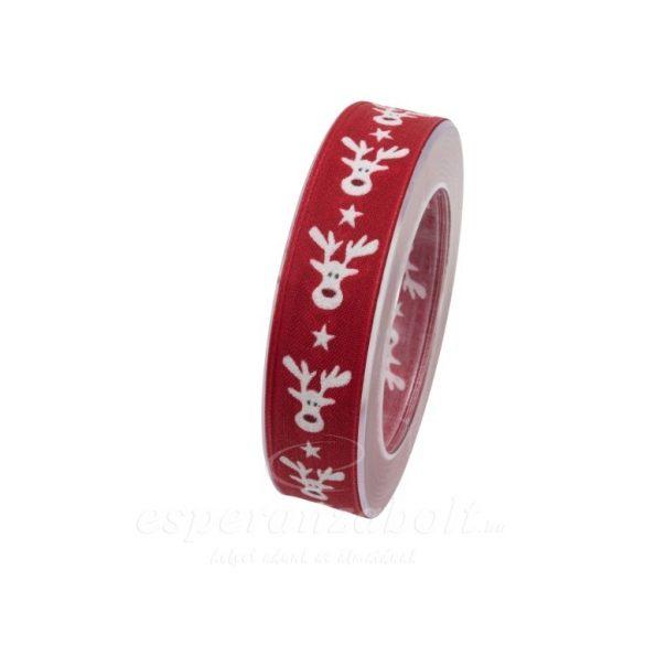 Karácsonyi Szalag szarvas mintával 25mmx10m piros