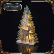 Karácsonyfa szarvassal fa 33 cm LED beltéri melegfehér időzítővel