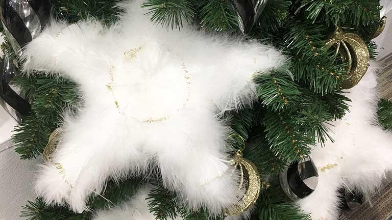 Fehér karácsonyfadísz textil