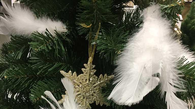 Fehér karácsonyfadísz - óvatosan bánj vele