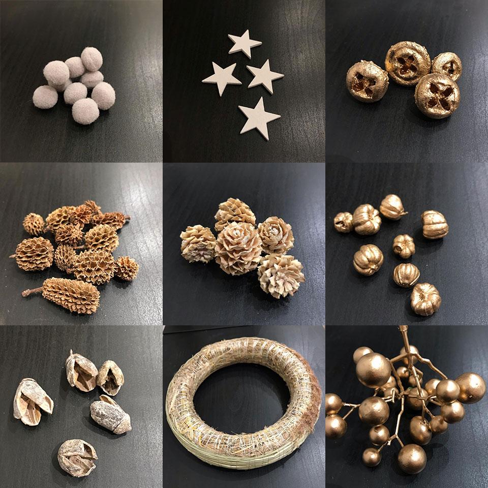 karácsonyi ajtódísz készítés kellékek