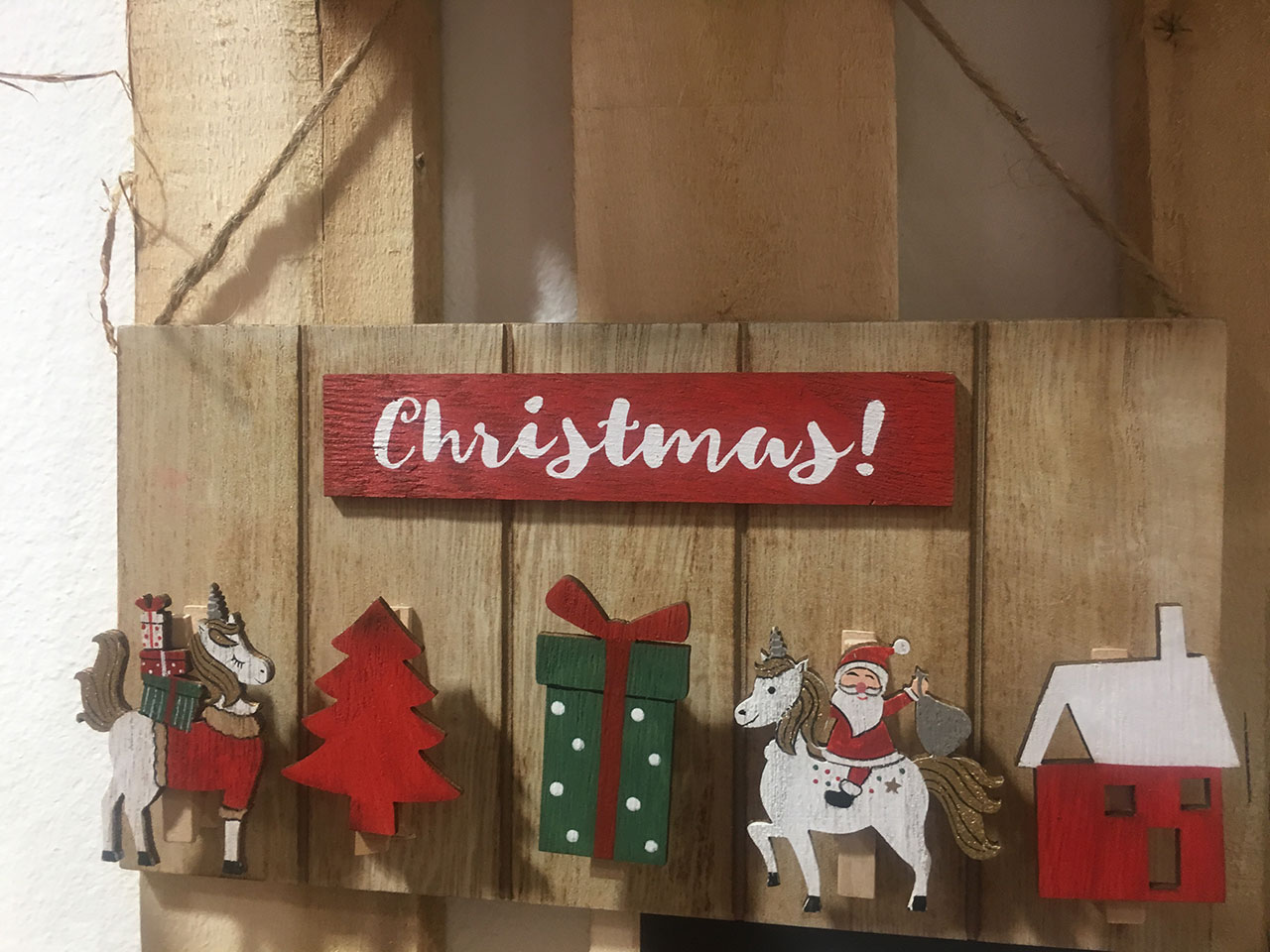 Karácsonyi ajtódísz fából