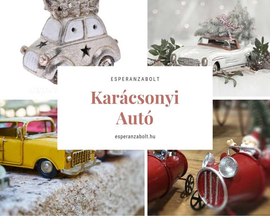 Karácsonyi dekoráció - Autó fenyőfával