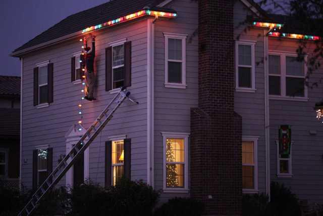 Karácsonyi világítás létra