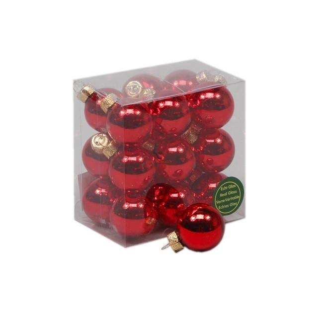 Gömbdísz üveg 3cm piros fényes 18 db-os Karácsonyfa gömb