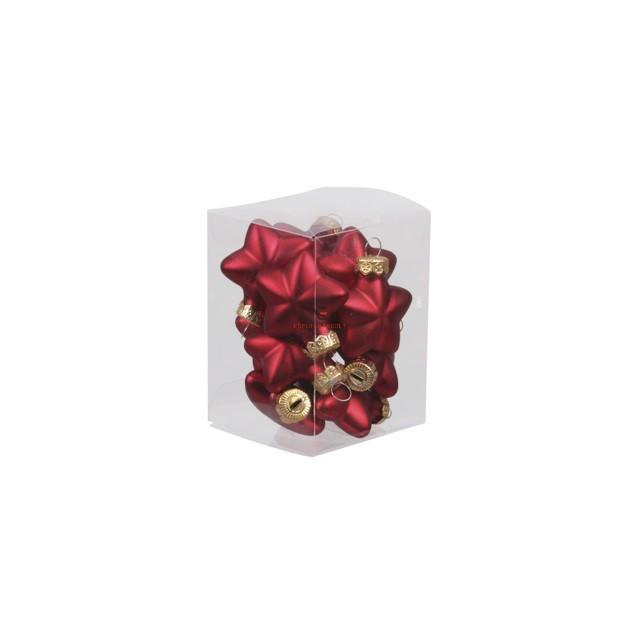 Csillag üveg 4cm piros matt 12 db-os Figurás karácsonyfadísz