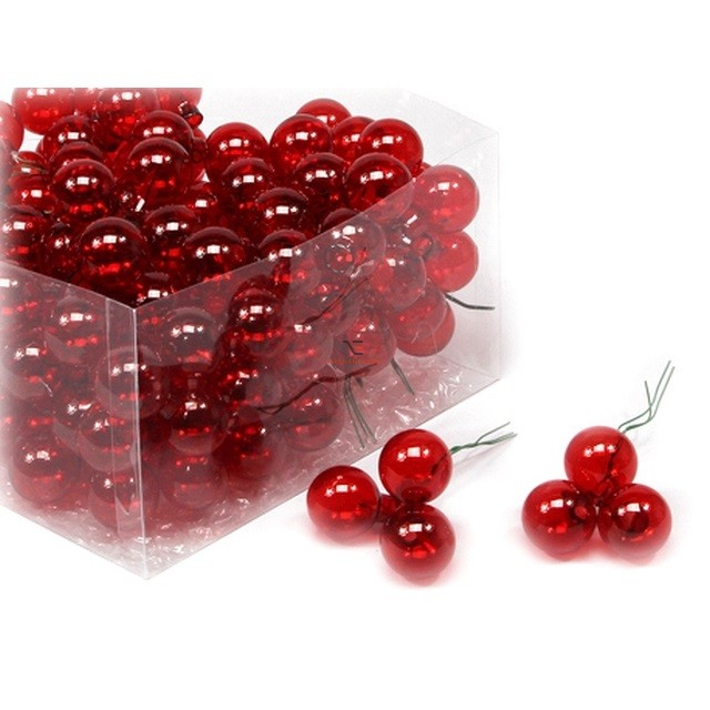 Gömbdísz üveg 2,5cm piros átlátszó 144 db-os Karácsonyfa gömb