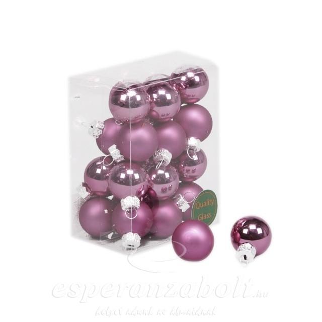 Gömb üveg 2,5 cm mályva matt-fényes 24db/szett