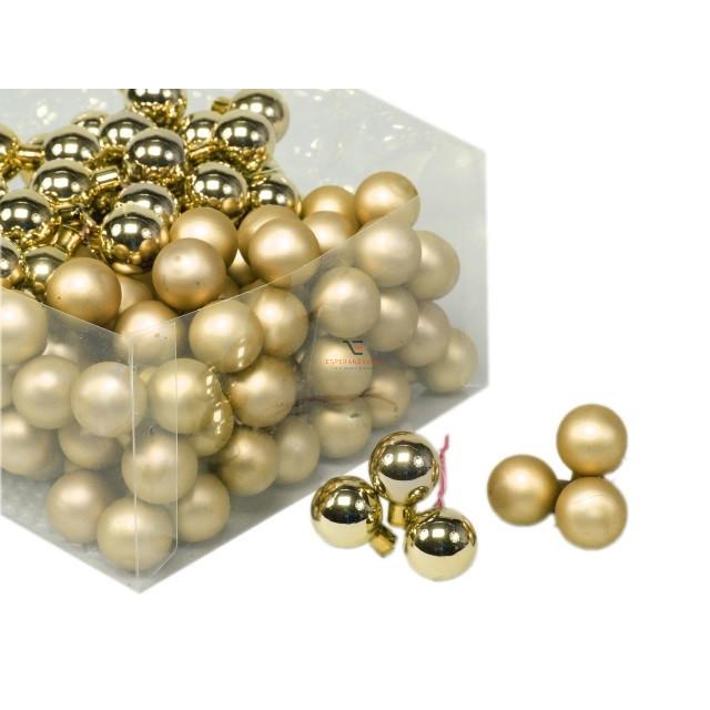 Gömb betűzős üveg 2cm arany fényes-matt 144 db/szett