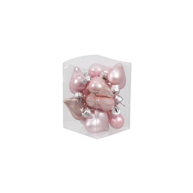 Szív üveg 4cm rózsaszín fényes-matt 12 db-os Figurás karácsonyfadísz