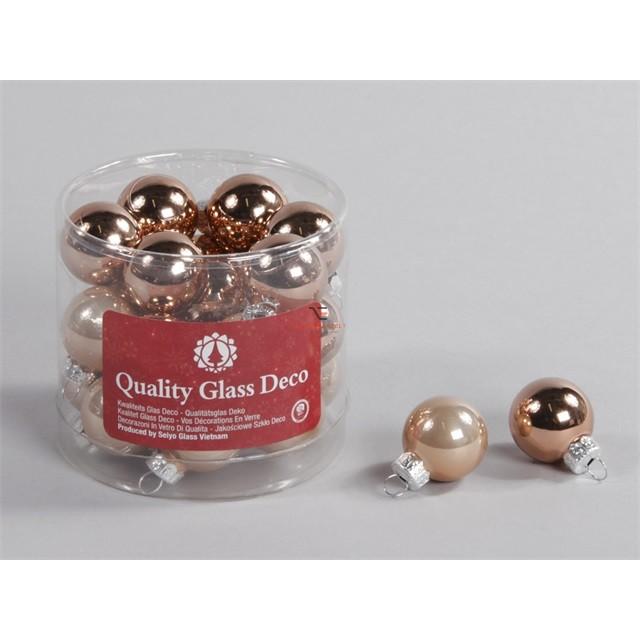 Gömbdísz üveg dobozos 2,5cm bronz matt-fényes 24 db-os Karácsonyfa gömb
