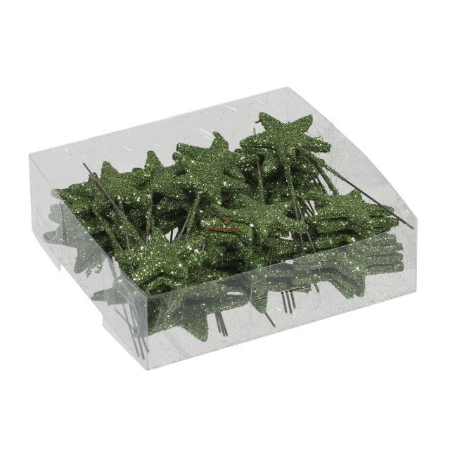 Glitteres csillag betűzős műanyag 3/4 cm zöld 48 db-os szett