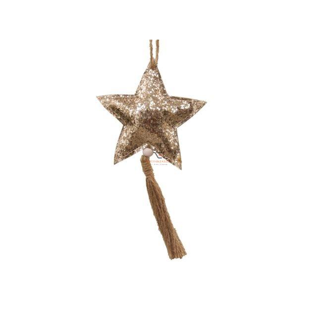 Csillag glitteres akasztós textil 11 cm arany 2 db-os szett