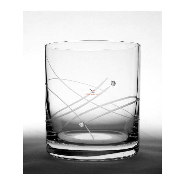 Kristály pohár swarovski dísszel whisky 280ml átlátszó 6 db-os