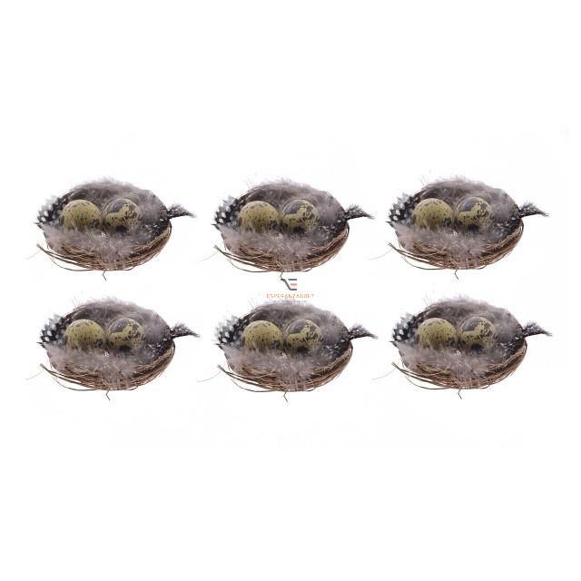 Madárfészek 2 tojással poly 6cm barna 6 db/szett