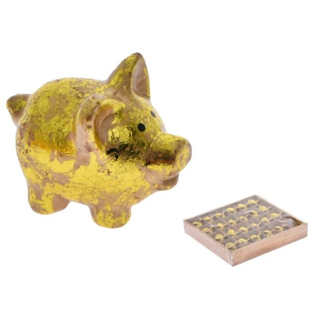 Malac kerámia 4x2,7x3,3cm arany 24 db/szett
