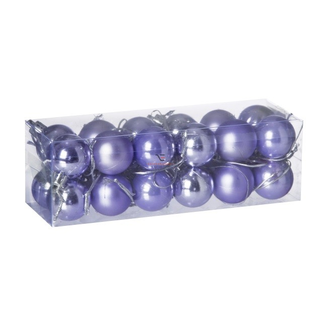 Gömb, dobozban műanyag 3cm világos lila 3 féle S/18 18db-os kiszerelés