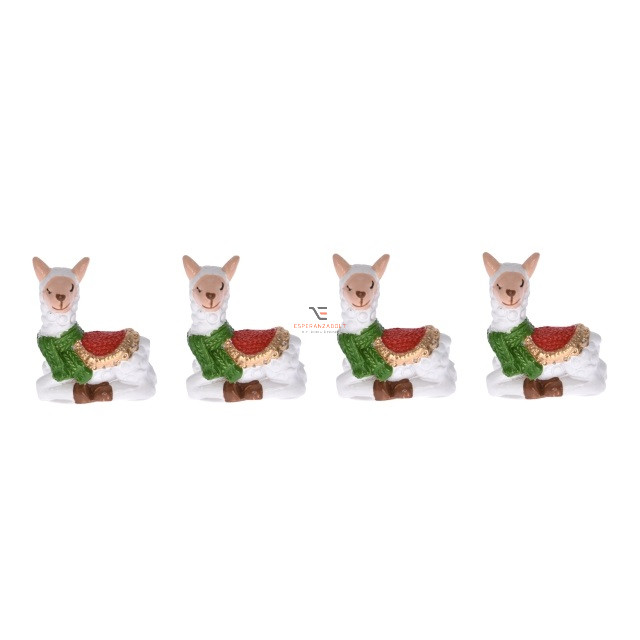 Láma fekvő poly 3x3,5 cm fehér, piros, zöld 4 db-os karácsonyi álló dísz