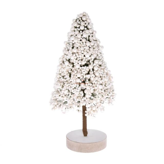 Gyöngy fenyőfa hungarocell 25x12x12cm fehér fényes karácsonyi falu kellék