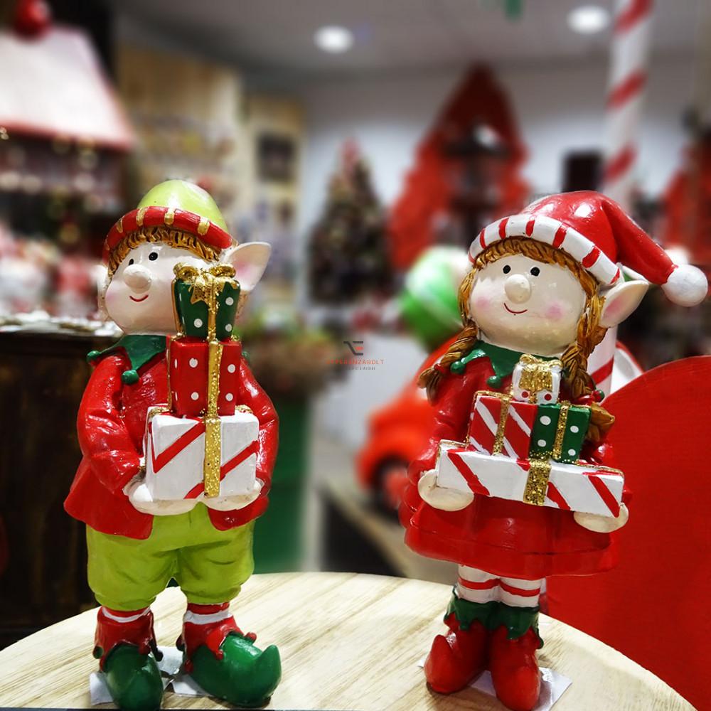 Manó gyerek fiú, lány ajándékkal poly 7,5x7x13,5 piros 2 féle Karácsonyi manó
