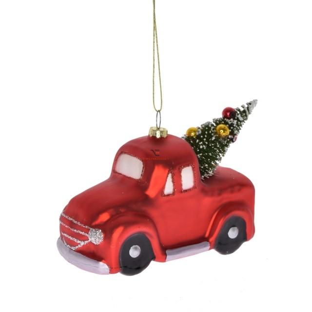 Kocsi fenyővel glitteres dísz, akasztós üveg 11x6x8cm piros Figurás karácsonyfadísz