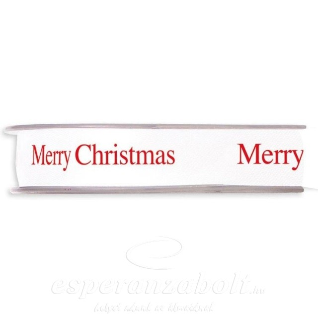 """Szalag textil """"Merry Christmas"""" felirattal 15mmx45m fehér"""