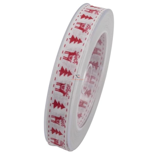 Szalag piros fenyővel,szarvassal 15mmx10m fehér karácsonyi szalag